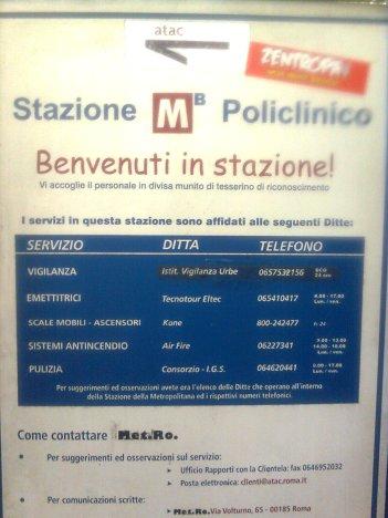 roma, metro policlinico